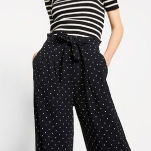 ZARA polka dot paper bag tie waist trousers